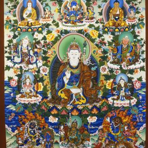 10-5-2014 Thimphu - Tangkha workshop - The 8 manifestations of Guru Rinpoche - This Tangkha took 2 artists a year to complete - Zoom in...